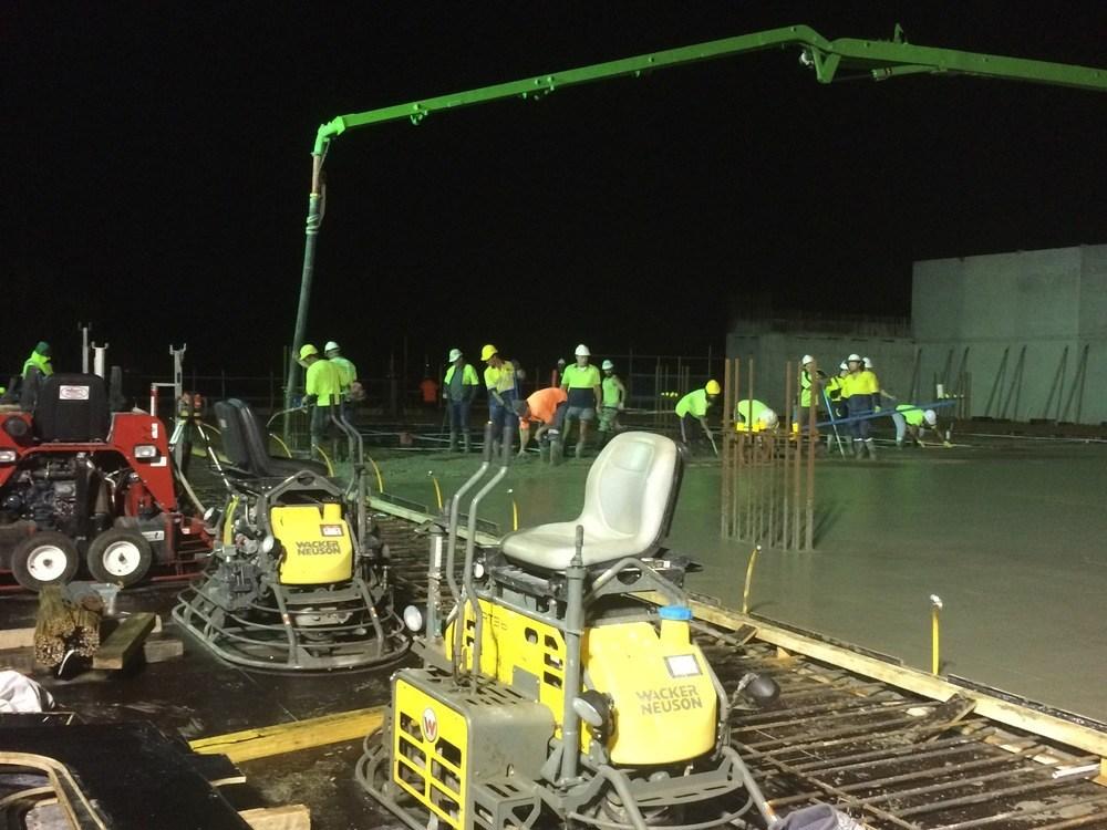 Night concrete pour Crown carpark