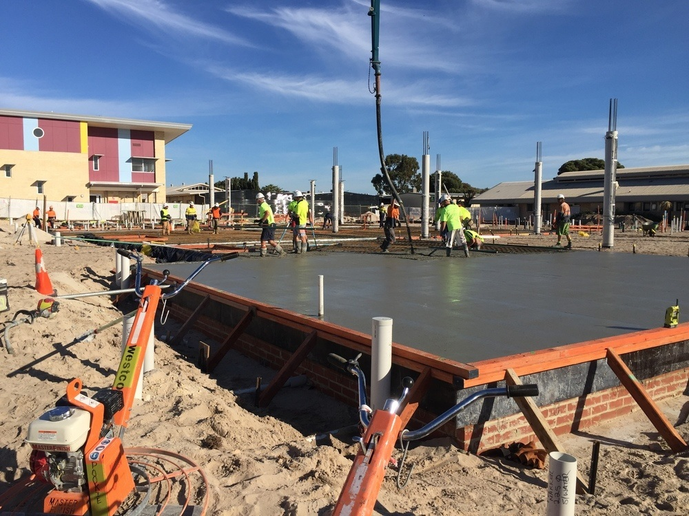 Placing ground Slab St Marks Anglican